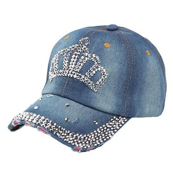 Full Diamond Crown Casual Baseball Hat Patchwork Adjustable Dark Blue Color Crown Shape The New 2017