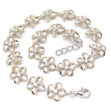 10MM SILVER 925 HAWAIIAN PLUMERIA FLOWER ANKLET RHODIUM PINK GOLD 2 TONE