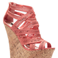 Coral Laser Cut Curves Ahead Cork Wedges