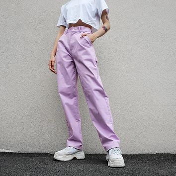 High Waisted Pastel Purple Canvas Trousers