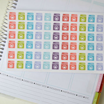 Set of 66 Laundry Stickers, Planner Stickers perfect for your Erin Condren Life Planner, Washing Machine, Printed + Kiss Cut
