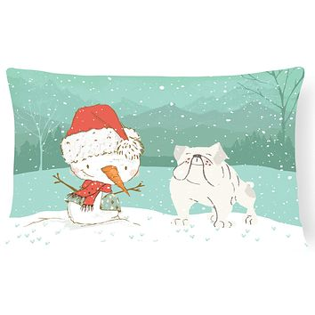 White English Bulldog Snowman Christmas Canvas Fabric Decorative Pillow CK2054PW1216