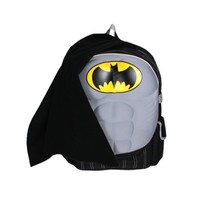 Batman 16 School Backpack with Molded Padded Chest Plate and Detachable Cape