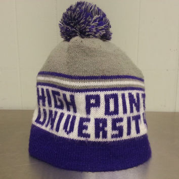 Vintage 90's HPU High Point University Beanie Snow Hat Made In USA Winter Wear NCAA College Purple Grey