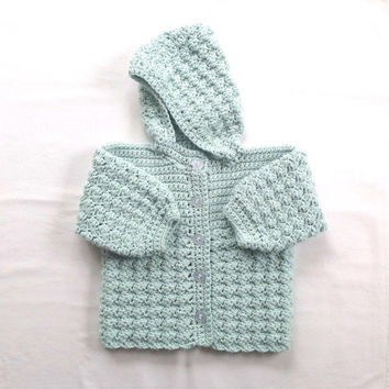Hooded baby coat - 9 to 18 months - Baby shower gift - Baby clothing - Baby crochet jacket - Infant hooded sweater