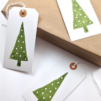 Large Gift Tags - Hang Tags - White Cardstock - Handmade - White Polka Dot Christmas Trees - Set of 8