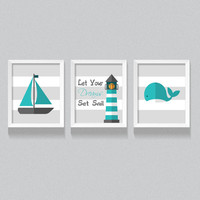 Printable Nursery Art, Nautical theme Kid's bedroom digital download, 'Let Your Dreams Set Sail' Set of Three