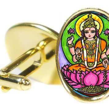 "Goddess Lakshmi for Wealth & Fortune 1"" Oval Pair of Cufflinks"