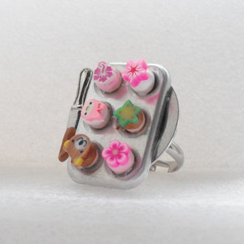 Cupcakes /muffin tray Ring. Polymer Clay.