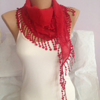 Red Scarf - Red Lace Scarf - Red Fringe Scarf - Women Fashion Accessories - Wedding Scarf - Bridesmaid Gift
