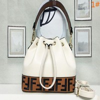 FENDI Fashion Letter Leather Handbag Shoulder Bag Bucket Bag Satchel Women