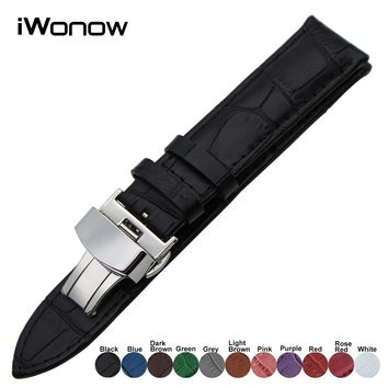 Genuine Leather Watchband for Omega Maurice Lacorix Lumionx Blancpain Watch Band Steel Buckle Wrist Strap 18 19 20 21 22 23 24mm