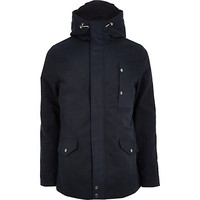 River Island MensBlue casual hooded jacket