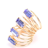 Royal Blue Diamond Gemstone High Polish Spring Band Design Ring