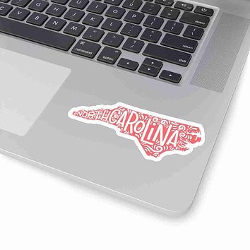 North Carolina State Shape Sticker Decal - Living Coral