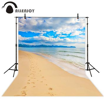 Allenjoy scenic Photo background Mountain clouds footprints on the beach Calm Sea photography backdrops for photo studio