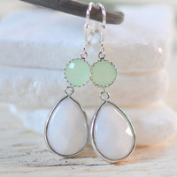 Large White Teardrop and Mint Gem Dangle Earrings in Silver. Statement Fashion Earrings. Mint and White Bridesmaids Earrings. Free Shipping.