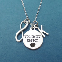 Personalized, Initial, Infinity, Necklace, You're my person, Grey's Anatomy, Necklace, Jewelry, Gift, Best Friend, Jewelry