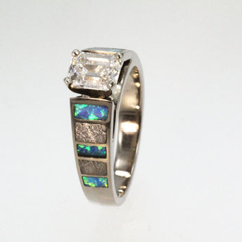Diamond Ring - Cathedral Style 14K White Gold with Inlays of Opal and  Meteorite - Perfect Engagement Band