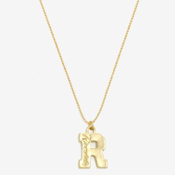 "Licensed cool Riverdale High Varsity ""R"" Pendant Necklace Gold Tone Shot Bead Chain Licensed"