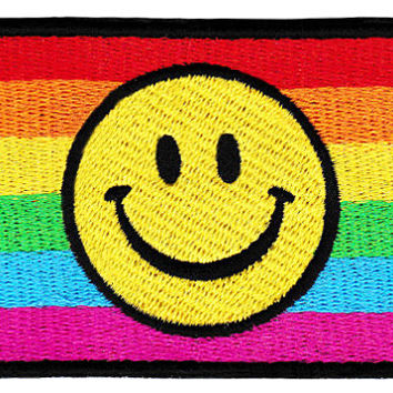 ON SALE NOW Lgbt Gay Lesbian Bisexual Smiley Smile Face Patch 9cm Applique