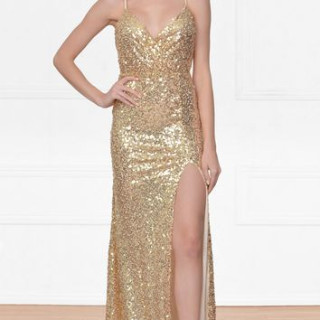 City Of Light Gold Sequin Spaghetti Strap Deep V Neck Thigh Slit Low Back Maxi Dress Gown