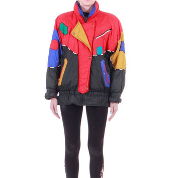 80s Vintage Fringe Color Block Ski Jacket Colorful Studded Abstract New Wave 90s Hip Hop Hipster Puffer Coat Unisex Clothing Size XL Large