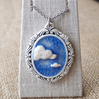 Free Shipping Worldwide Cloud 9 Porcelain Pendant, Blue Sky Cameo Mrs Peterson Pottery