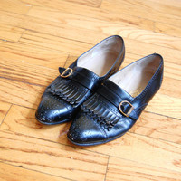 Vintage Ferragamo Loafers with Fringe - Size 5.5 Salvatore Ferragamo Shoes Black Leather Loafers Fringe Shoes 5.5 Women Loafers Buckle Shoes