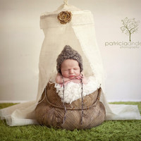 Newborn Canopy Photography Prop - Burlap and Lace