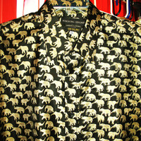 Amazing Vintage Shirt Lucky ELEPHANTS 100% Thai Silk Size XXL  Very Collectible