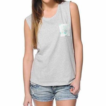 Empyrean Lauryn Floral pocket Grey Muscle Tee
