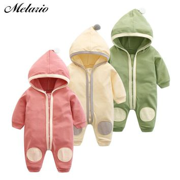 Melario Baby Rompers 2018 Winter New Baby Girls Clothes Hooded Baby Clothes Kids Clothes Toddler Jumpsuit Children Rompers