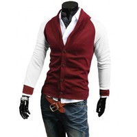 The Jones Cardigan Red/White - leatherandcotton
