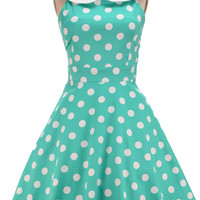 peter pan collared dottie sun dress - mint & white polka dot | le bomb shop