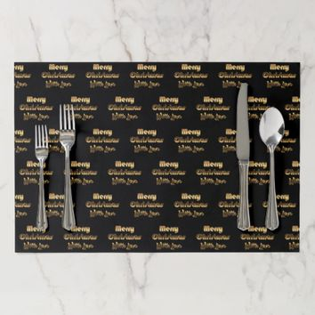 Merry Christmas with Love Gold Black Typography Placemat
