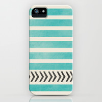 TEAL STRIPES AND ARROWS iPhone & iPod Case by Allyson Johnson