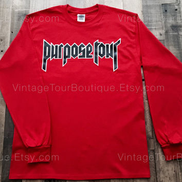 Justin Bieber Purpose Tour Shirt RED Long Sleeve