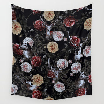 Deers and Flowers Wall Tapestry by emeliaa