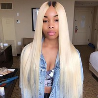 Sleek 613 Blonde Hair Weaves Straight Brazilian Hair Bundles 100% Honey Straight Remy Hair Extensions 10 to 30 Inches