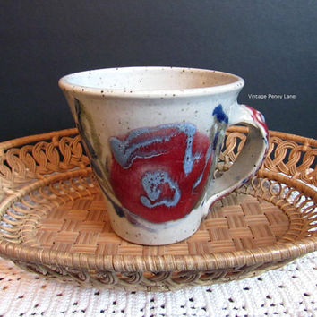 Vintage Studio Pottery Stoneware Mug, Handmade Ceramic Cup, Coffee Mug, Coffee Cup, Fish Handle