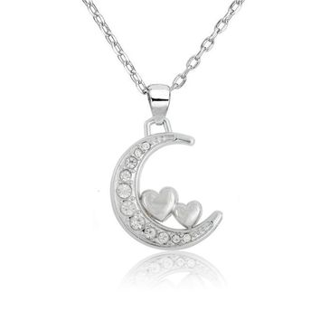 my shape Silver Plated Simple Crystal Stone Crescent Moon with Star Pendant Necklace I Love You To The Moon And Back Jewelry