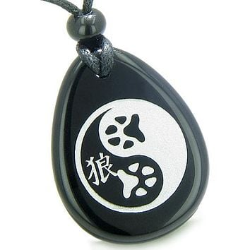 Amulet Wolf Paw Yin Yang Magic Kanji Spiritual Balance Powers Onyx Totem Stone Pendant Necklace