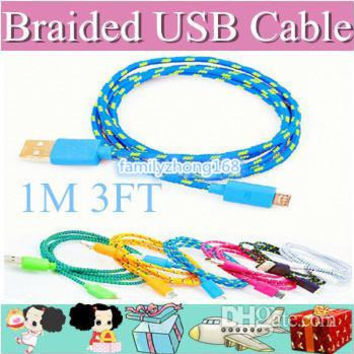 500pcs Fabric Braided V8 Micro USB Charger Cable Adapter Data Sync Nylon Line for Samsung Blackberry Colorful-1M 3FT DD0513