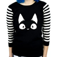 Kitty Cat Face Black & White Stripe 3/4 Length Sleeves Sweater