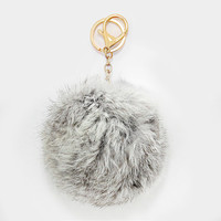 Large Rabbit Fur Pom Pom Keychain, Key Ring Bag Pendant Accessory - Silver