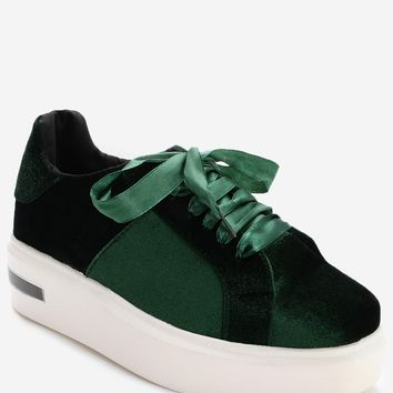 Lace Up Velvet Platform Sneakers