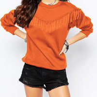 Solid Long Sleeve Shirt With Tassel