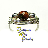 DWJ0357 Lovely Czech Glass Goldenrod Picasso Solitaire Silver Wire Wrap Ring All Sizes