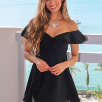 Black Off Shoulder Short Dress with Ruffles